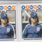 Magglio Ordonez Trading Card Lot of (2) 2008 Topps #145 Tigers
