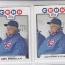 Lou Pinella Trading Card Lot of (2) 2008 Topps #329 Cubs MGR
