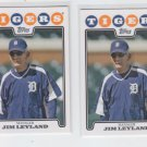 Jim Leyland Trading Card Lot of (2) 2008 Topps #325 Tigers MGR
