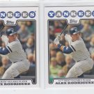 Alex Rodriguez AW Trading Card Lot of (2) 2008 Topps #256 Yankees