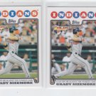 Grady Sizemore PSH Lot of (2) 2008 Topps #59 Indians