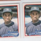 Deion Sanders Rookie Card Lot of (3) 1989 Topps Traded #110T Yankees