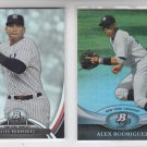 Alex Rodriguez Trading Card Lot of (2) 2011 & 2013 Bowman Platinum Yankees