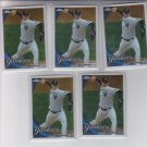 A.J. Burnett Baseball Trading Card Lot of (5) 2010 Topps Chrome #95 Yankees