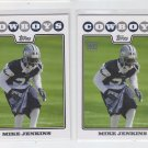 Mike Jenkins Lot of (2) RC 2008 Topps #425 Cowboys