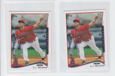 C.J. Wilson Trading Card Lot of (2) 2014 Topps Mini #257 Angels