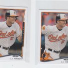 J.J. Hardy Trading Card Lot of (2) 2014 Topps Mini #377 Orioles