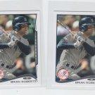 Brian Roberts Trading Card Lot of (2) 2014 Topps Mini #396 Yankees