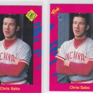 Chris Sabo Trading Card Lot of (2) 1990 Classic Update #T43 Reds