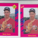 Steve Avery RC Trading Card Lot of (2) 1990 Classic Update #T4 Braves