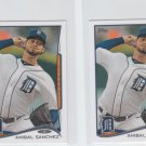 Anibal Sanchez Trading Card Lot of (2) 2014 Topps Mini 81 Tigers