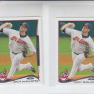 Zach McAllister Trading Card Lot of (2) 2014 Topps Mini #616 Indians