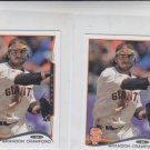 Brandon Crawford Trading Card Lot of (2) 2014 Topps Mini 119 Giants
