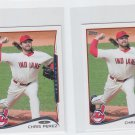 Chris Perez Trading Card Lot of (2) 2014 Topps Mini 191 Indians