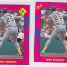 Mark McGwire Trading Card Lot of (2) 1990 Classic Update #T33 Athletics