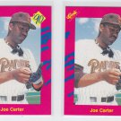 Joe Carter Trading Card Lot of  (2) 1990 Classic Update #T9 Padres