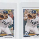 James Loney Trading Card Lot of (2) 2014 Topps Mini 328 Rays