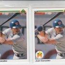 Juan Gonzalez RC Trading Card Lot of (2) 1991 Upper Deck #72 Rangers NMMT
