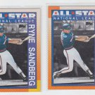 Ryne Sandberg Trading Card Lot of (2) 1990 Topps #398 Cubs All Star