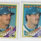 Joey Meyer RC Rated Rookie Trading Card Lot of (2) 1988 Topps #312  Brewers