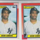 Deion Sanders RC Trading Card Lot of (2) 1990 Topps #61 Yankees