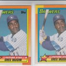 Greg Vaughn RC Trading Card Lot of (2) 1990 Topps #57 Brewers Future Star