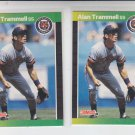Alan Trammell Trading Card Lot of (2) 1989 Donruss #180 Tigers