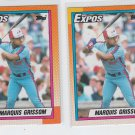 Marquis Grissom RC Trading Card Lot of (2) 1990 Topps #714 Expos