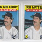 Don Mattingly Trading Card Lot of (2) 1986 Topps #712 Yankees All Star