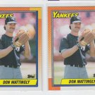 Don Mattingly Trading Card Lot of (2) 1990 Topps #200 Yankees