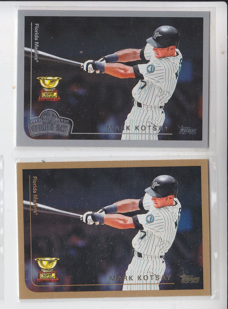 Mark Kotsay Trading Card Lot of (2) 1999 Topps #91 & Opeing Day #51 Marlins