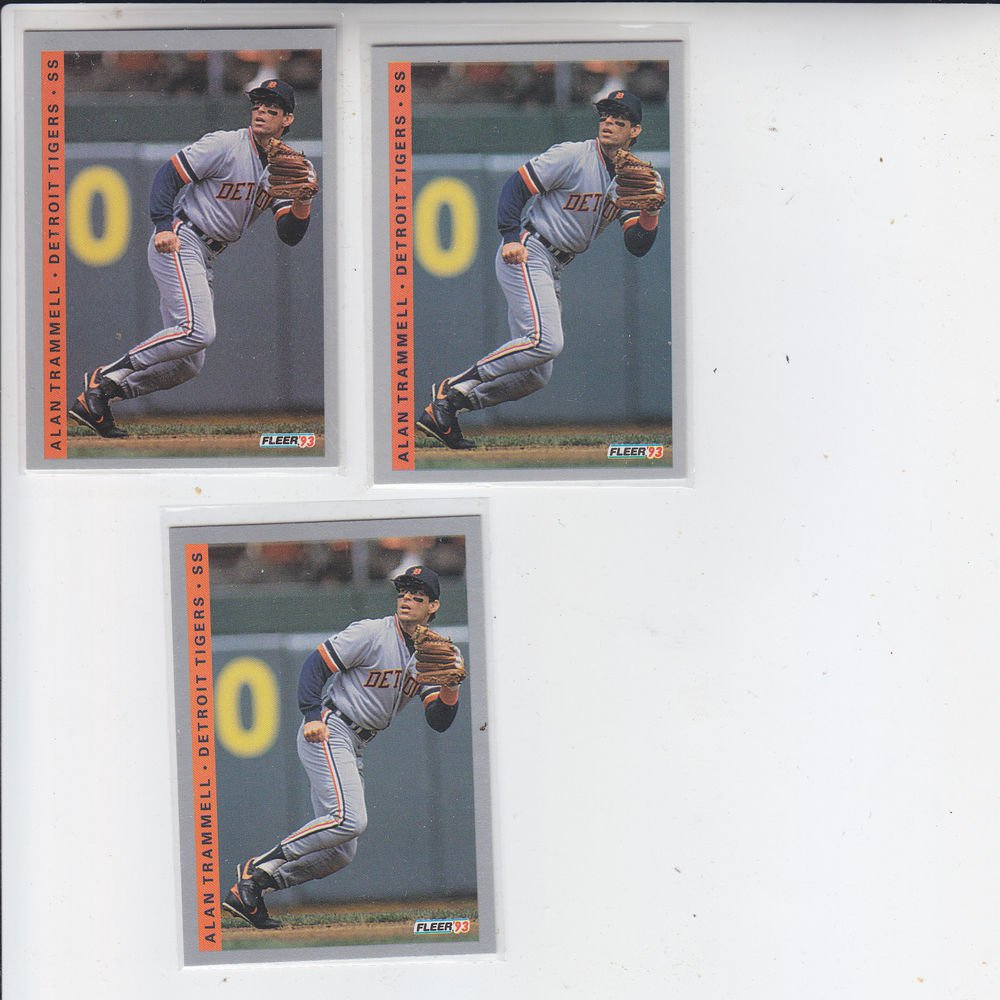 Alan Trammell Trading Card Lot of (3) 1993 Fleer #613 Tigers
