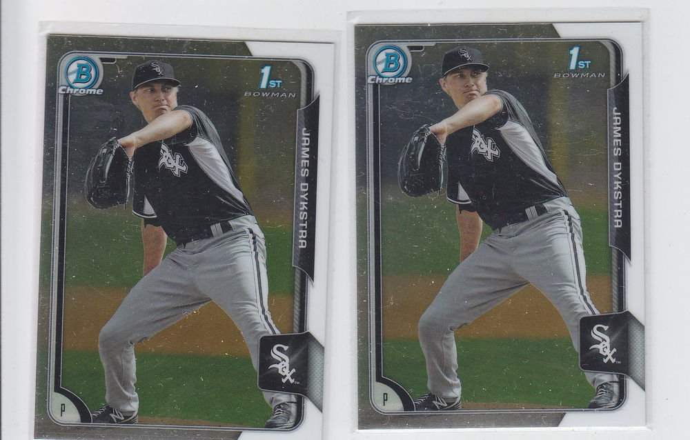 James Dykstra Lot of (2) 2015 Bowman Chrome #BC45 White Sox