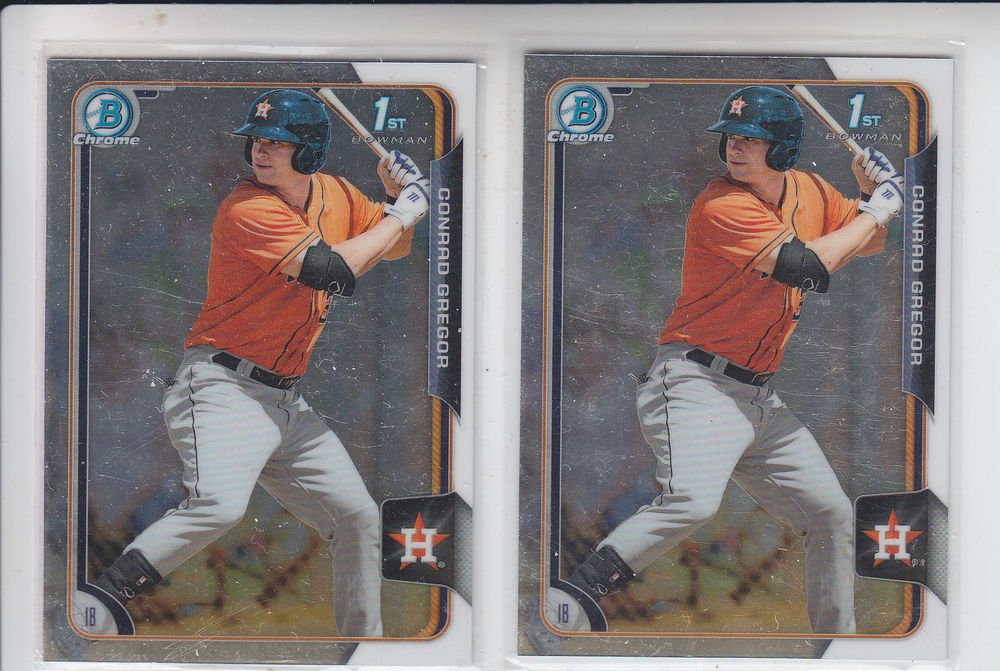 Conrad Gregor Prospect Trading Card Lot of (2) 2015 Bowman Chrome #BCP55 Astros