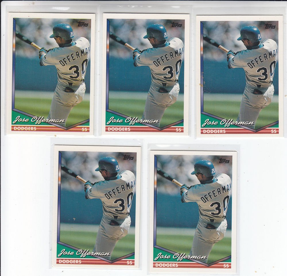 Jose Offerman Trading Card Lot of (5) 1994 Topps #241 Dodgers