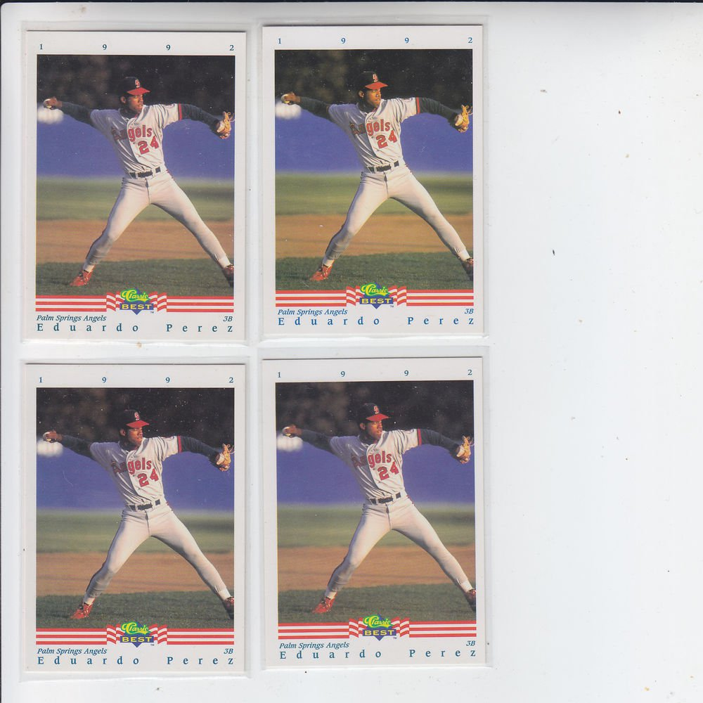 Eduardo Perez Trading Card Lot of (4) 1992 Classic/Best #211 Angels