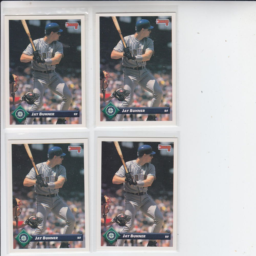 Jay Buhner Trading Card Lot of (4) 1993 Donruss #111 Mariners