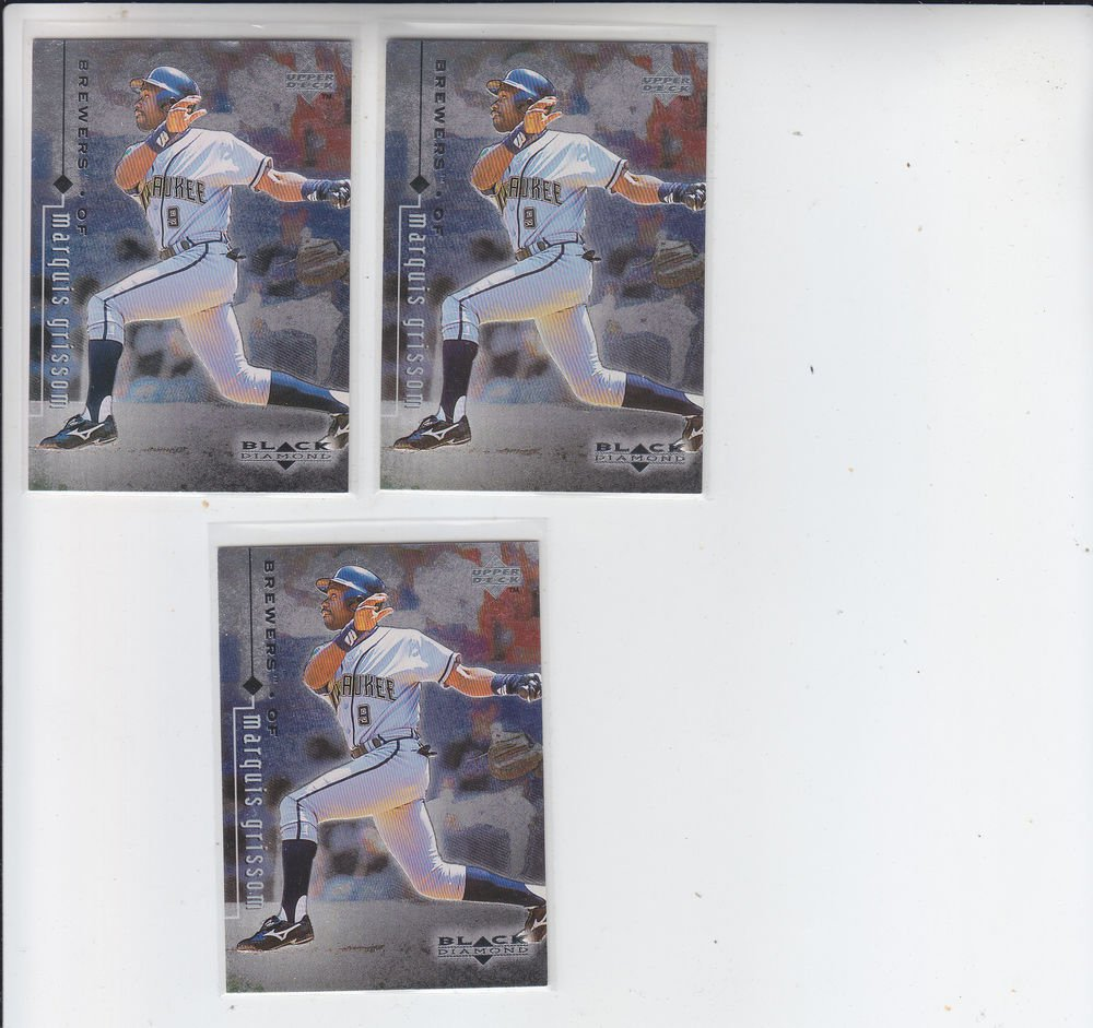 Marquis Grissom Trading Card Lot of (3) 1999 UD Black Diamond #46 Brewers