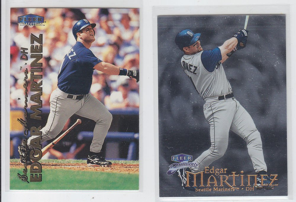Edgar Martinez Lot of (2) 1999 Fleer Tradition #173 & Brilliants #89 Mariners