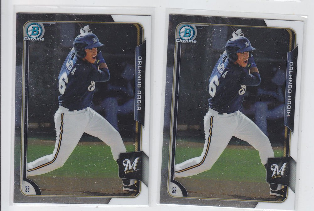 Orlando Arcia Lot of (2) 2015 Bowman Chrome #BC135 Brewers