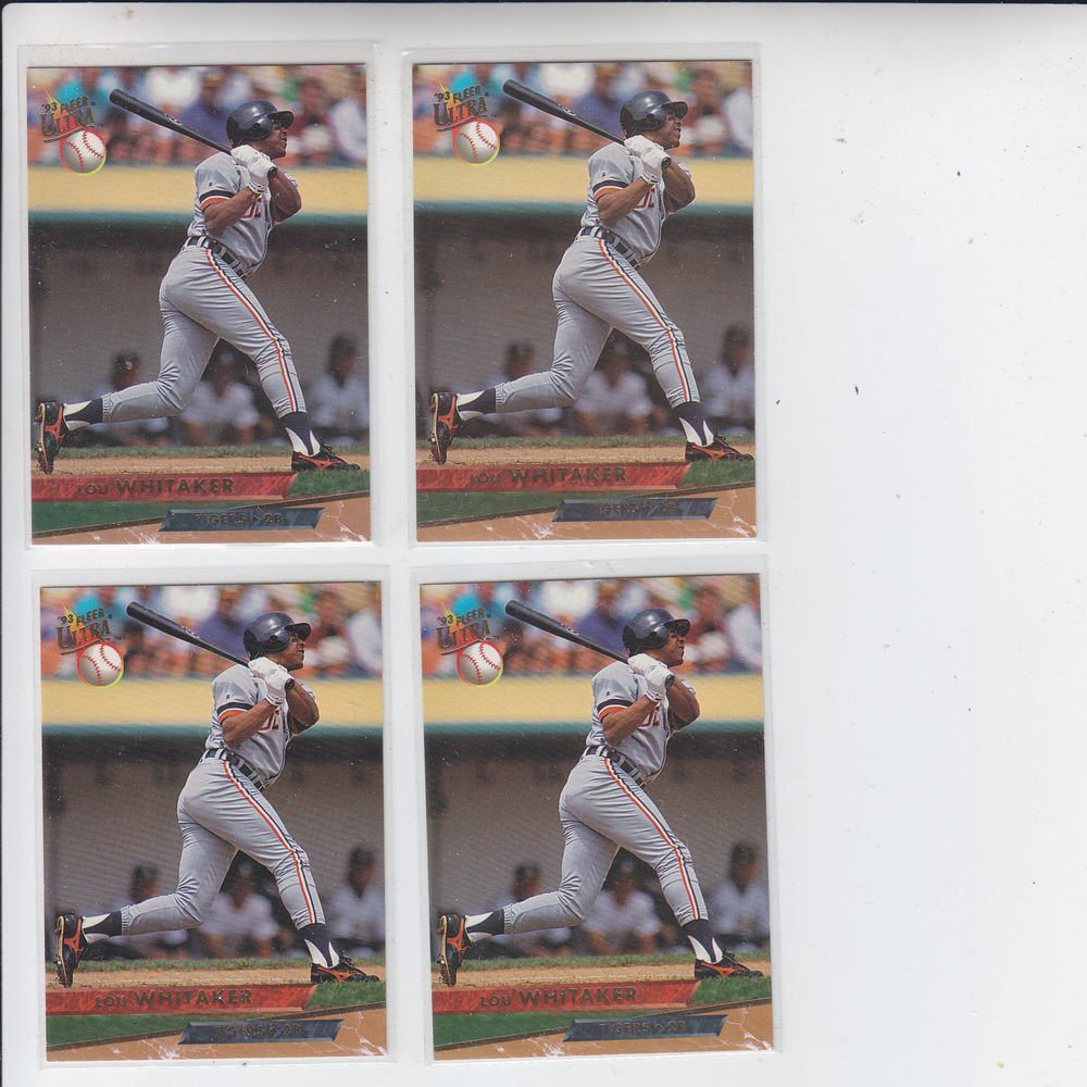 Lou Whitaker Trading Card Lot of (4) 1993 Fleer Ultra #555 Tigers