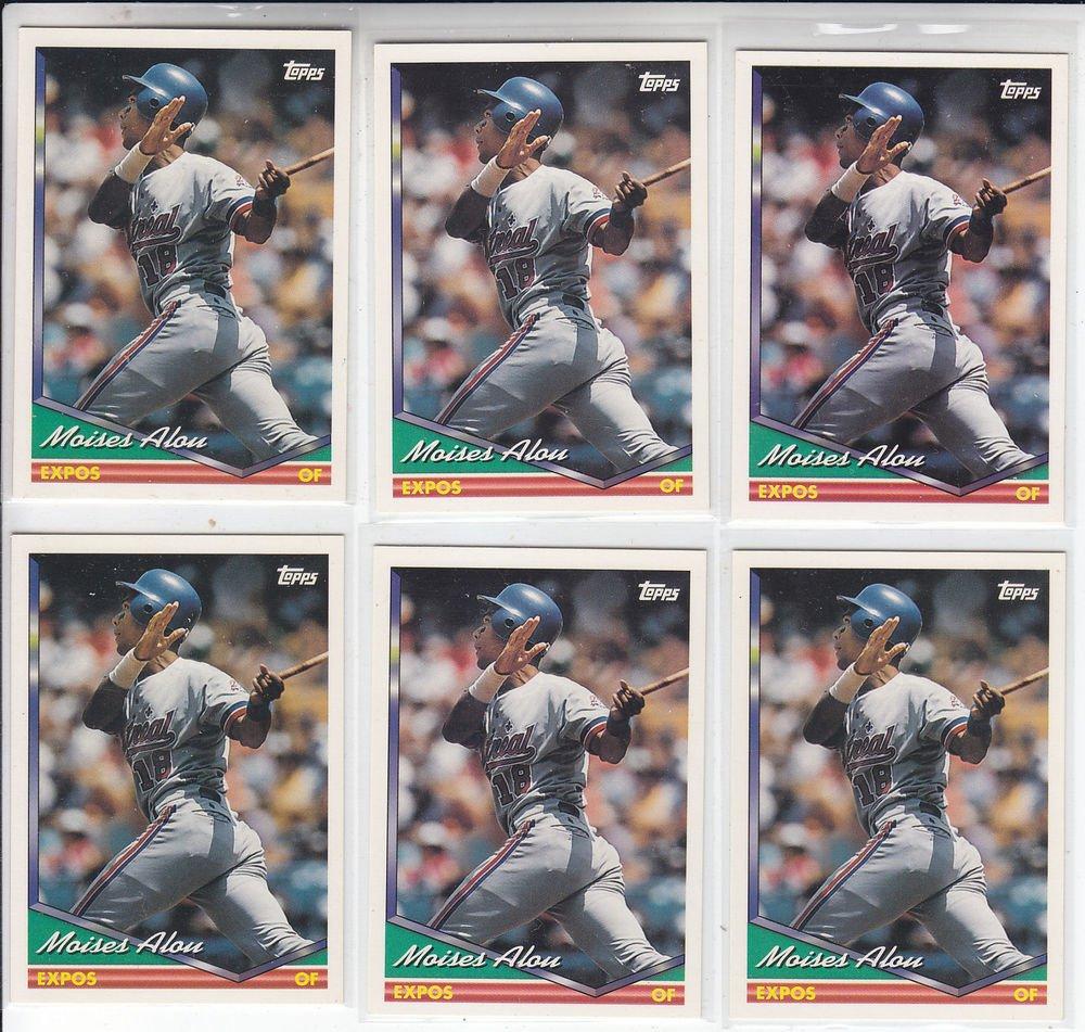 Moises Alou Trading Card Lot of (6) 1994 Topps #50 Expos