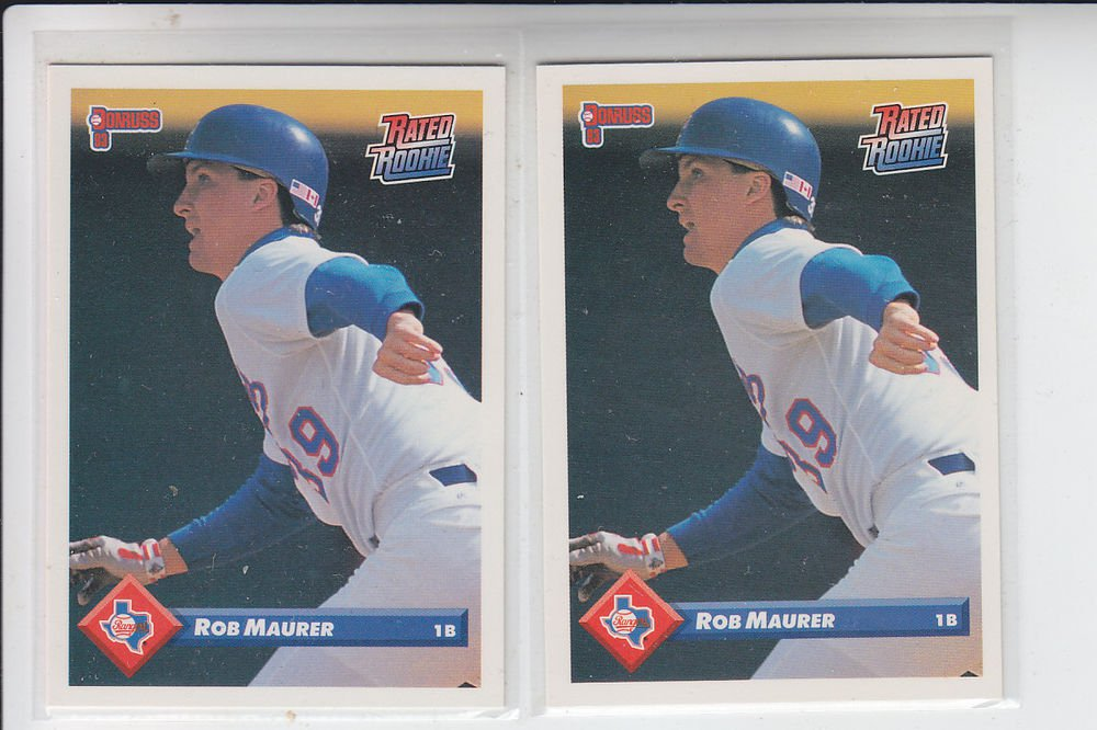 Rob Maurer Rated Rookie RC Trading Card Lot of (2) 1993 Donruss #584 Rangers
