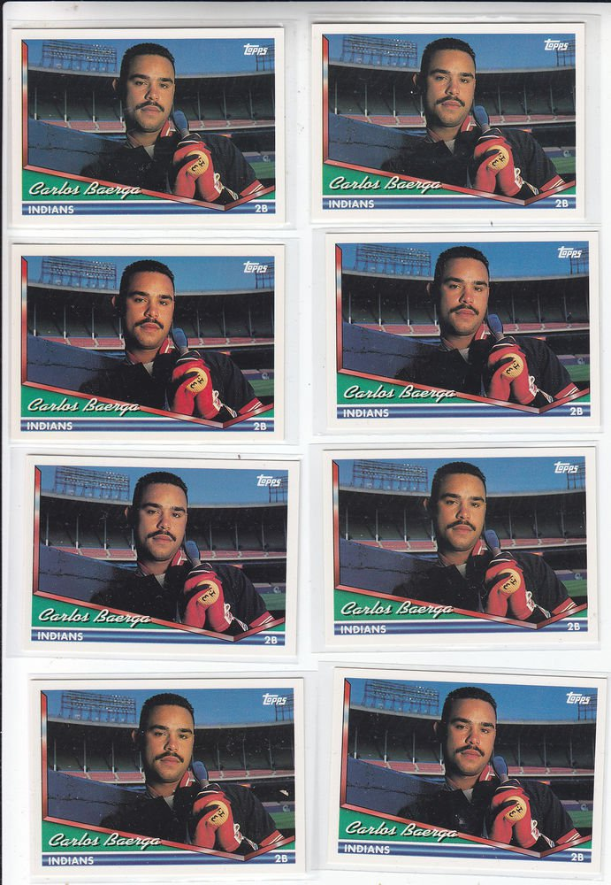 Carlos Baerga Trading Card Lot of (8) 1994 Topps #450 Indians