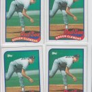 Roger Clemens Trading Card Lot of (4) 1989 Topps #450 Red Sox EX+