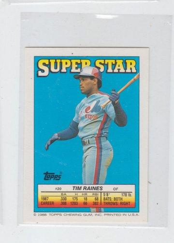 Tim Raines Siuper Star Mini Single 1988 Topps #20 Back #203 Expos