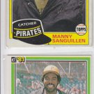 Manny Sanguillen Trading Card Lot of (2) 1981 Donruss #14 & Topps #226 Pirates