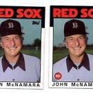 John McNamara Trading Card Lot of (2) 1986 Topps 771 Red Sox MGR