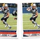 Rob Gronkowski Trading Card Lot of (2) 2013 Score #129 Patriots