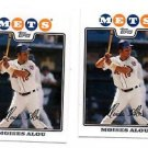 Moises Alou Trading Card Lot of (2) 2008 Topps #212 Mets